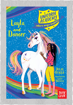 Blue book cover for Unicorn Academy Layla and Dancer