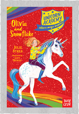 Red book cover for Unicorn Academy Olivia and Snowflake